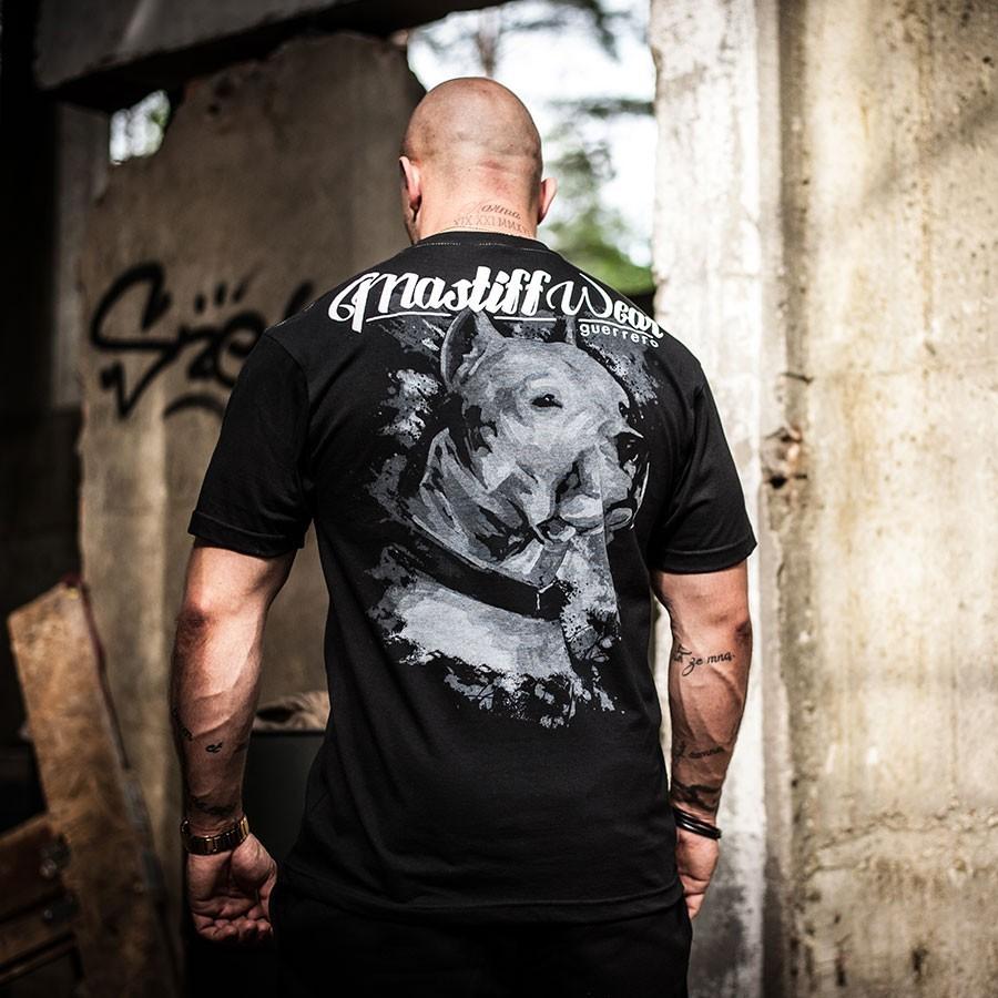 Koszulka męska, czarna z motywem malowanego psa Dogo Argentino w kolorach szarości