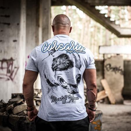 """Koszulka męska """"Corsario"""" z podobizną Doga Argentyńskiego z łatą na oku"""