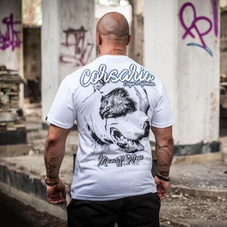 "T-shirt ""Corsrario"" z motywem Dogo Argentino na plecach"