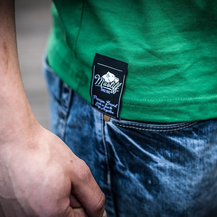 """Koszulka męska """"BASIC"""" - zielona, detale"""